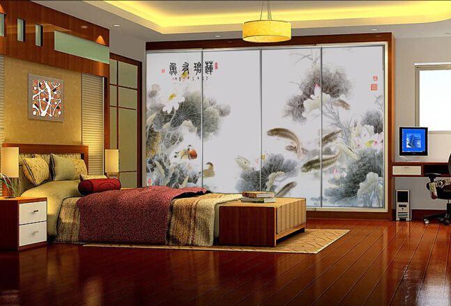 tapisserie numérique papier peint asiatique sur mesure paysage zen les lotus les carpes et les canards mandarins dans l'etang style ancien