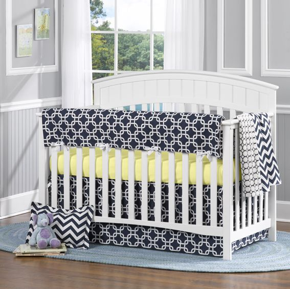Navy Metro Crib Bedding by @Liz and Roo: Fine Baby Bedding - #munire #pinparty #MadeinUSA