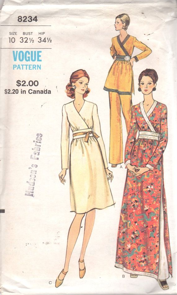 Vogue 8234 ; Jeune femme : robe, tunique et pantalon. Robe, genou ou longueur de soirée ou tunique a encolure en Surplis, légèrement réunis corsage,