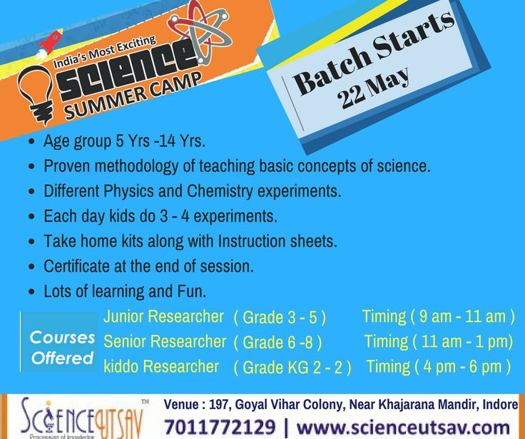 ScienceUtsav's science summer camp Indore, India schedule is out . Reach us at 7011772129 / 9004006007 to register for an amazing experience!  #SimplifyingScience