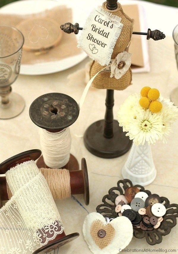 shabby chic shower centerpiece - such a cute idea for a crafty friend.