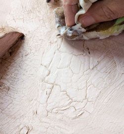 DIY:  How to get this crackle effect on your furniture by using a hair dryer and wax.