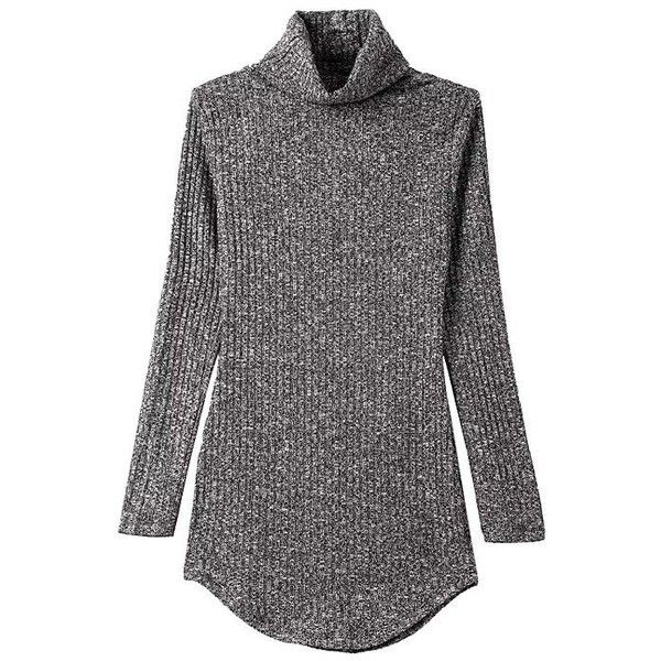 Yoins High Neck Grey Knitted Sweater Mini Dress (245 SEK) ❤ liked on Polyvore featuring dresses, grey, high neck bodycon dress, sexy dresses, gray bodycon dress, sexy mini dress and grey bodycon dress