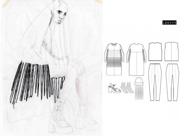 Fashion Sketchbook - fashion design portfolio, collection development with stitched fashion illustration // Bianca de Csernatony