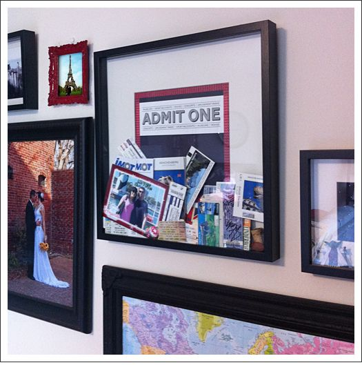 Love the idea of this on a bedroom wall to remind you of the fun you've had together over the years... Ticket Shadow Box, map, wedding, other special boxes and pics!!