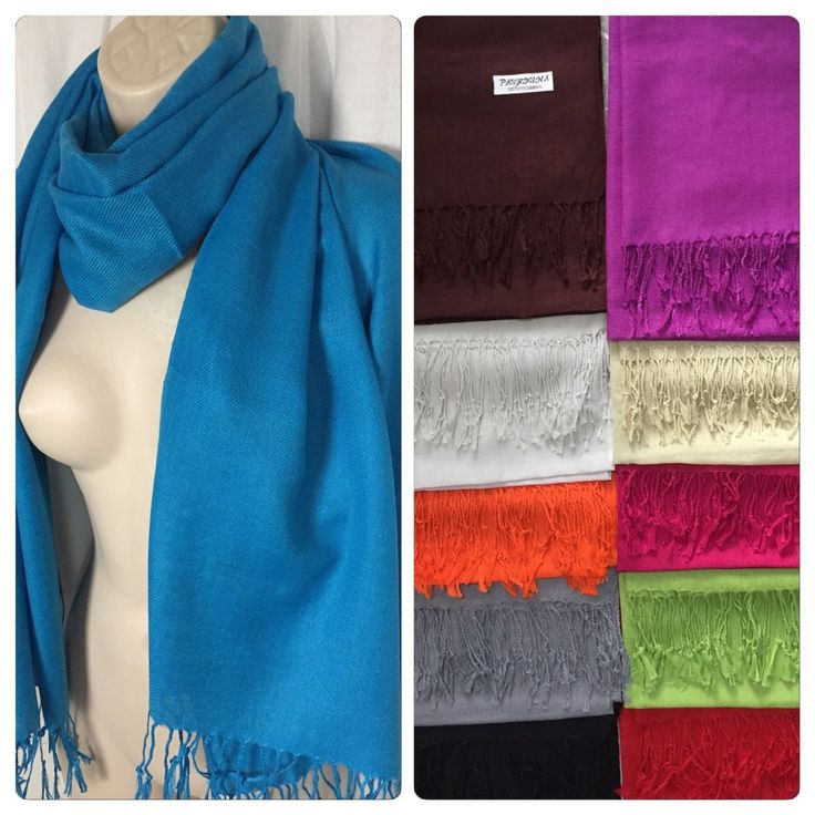 "100% Pashmina Wrap Fringe Scarf Solid Color Shawl Scarves Nip 72"" X 28"""