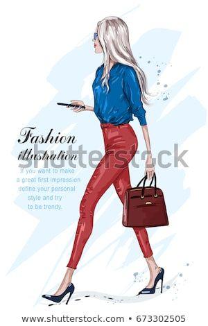 7bc2e4c0a3944 Fashion stylish girl with accessories. Stylish businesswoman. Hand drawn  fashion model in sunglasses. Sketch. Vector illustration.