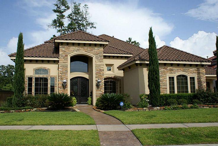 Stucco Facade With Graceful Columns - 89865AH ... |Stucco House Designs
