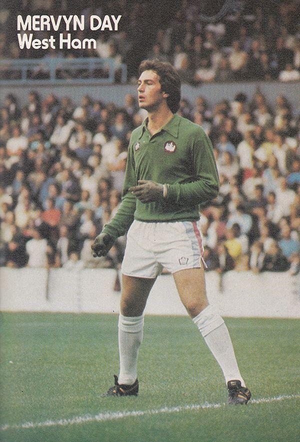 August 1976. West Ham United goalkeeper Mervyn Day in action, at Upton Park.