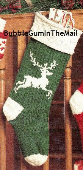 Knit Christmas Stocking Pattern Reindeer by BubbleGumInTheMail