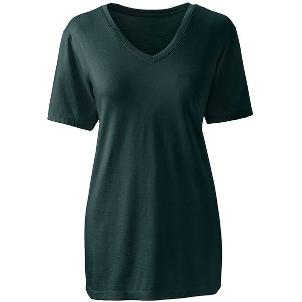 Lands' End Women's Petite Relaxed Supima V-neck T-shirt (1.245 RUB) ❤ liked on Polyvore featuring tops, t-shirts, green, relax t shirt, green v neck t shirt, extra long t shirts, v neck t shirts and cotton t shirts