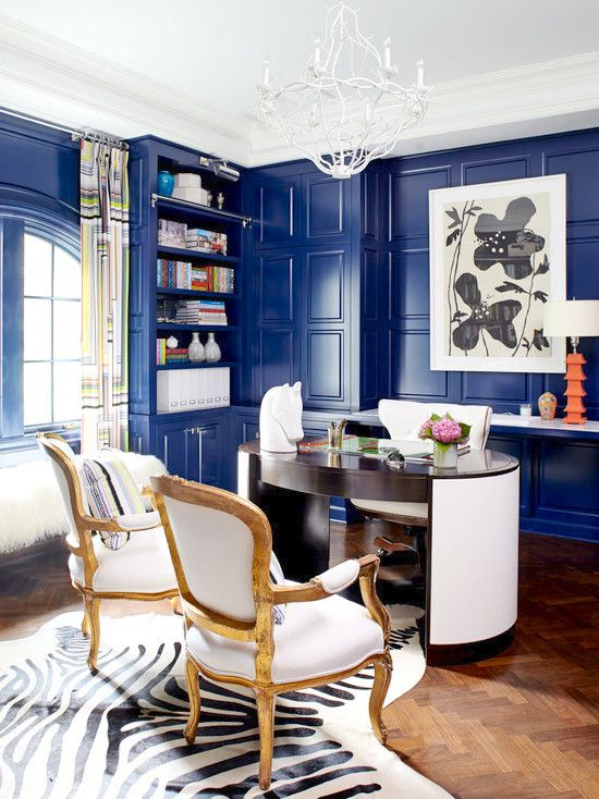 Royal Blue Lacquered Walls | Paint Colors | Interior Design Trend