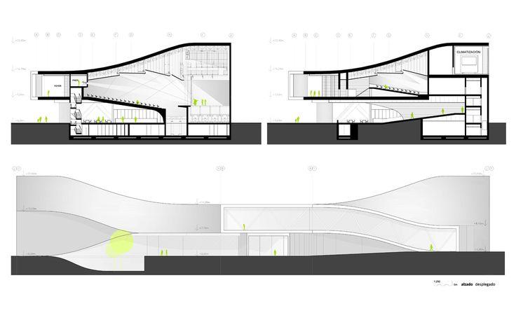 AQSO folded auditorium, sections, auditorium angle, machinery box, acoustic ceiling