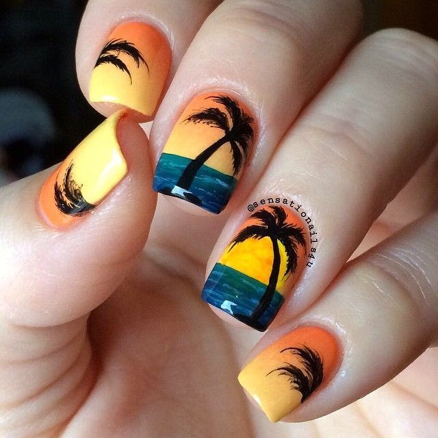 Palm Tree Nail Art  @opi_products in my back pocket  @sally_hansen mellow yellow.  Palm Trees and all details are hand painted with acrylic paint ☺️