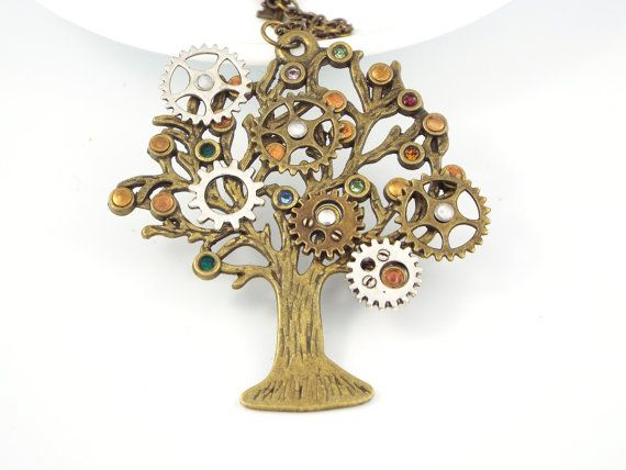Steampunk Family Tree Birthstone Necklace Jewelry  by fripparie