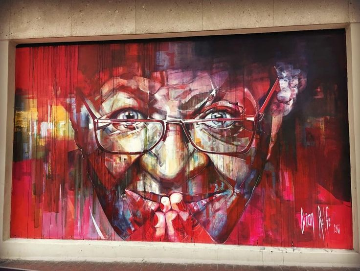 Energetic street art featuring Desmond Tutu by the talented Brian Rolfe. Rolfe likes to create strong eyes so passers-by can't resist looking at the face. Photo: @davidcmike  #BrianRolfe #CapeTown #SouthAfrica #ilovecapetown #DesmondTutu #StreetArt #citycentre #graffiti