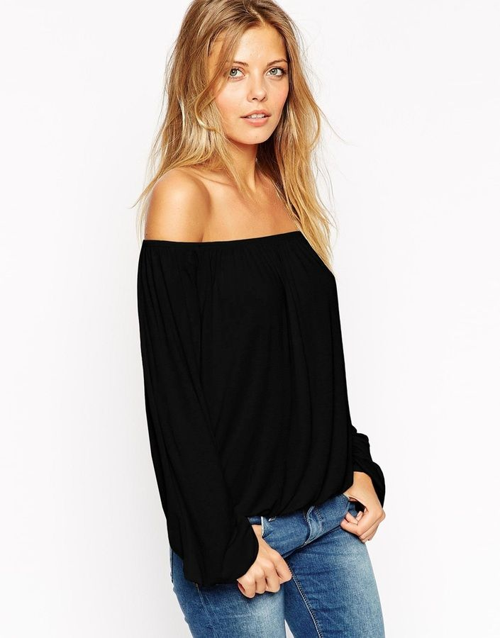 Asos Off Shoulder Top In Slouchy Fabric