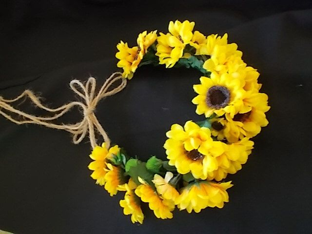 SUNFLOWER FLORAL CROWN Halo Hair Wreath Burlap Hemp Jute Twine. Rustic Country Wedding Bouquet Corsage Bouutonniere Your pick item and sizes by FantasyWedding on Etsy https://www.etsy.com/listing/244988794/sunflower-floral-crown-halo-hair-wreath