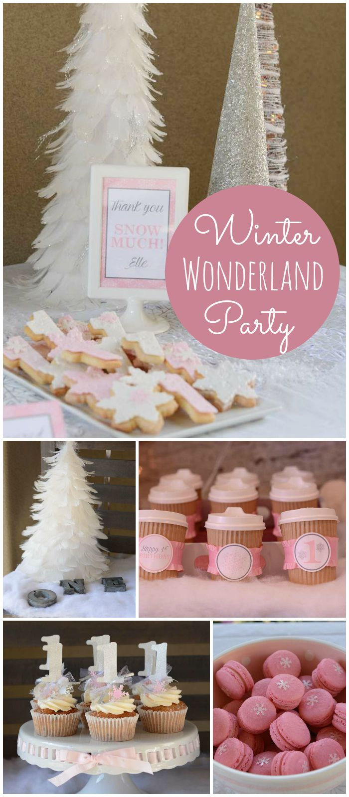 I'm loving this gorgeous pink winter wonderland party with hot cocoa and macarons! See more party planning ideas at CatchMyParty.com!