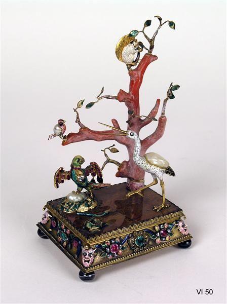 Kabinettstück mit einer Koralle als Baum, um 1720-1730. Dresden, Staatliche Kunstsammlungen Dresden.