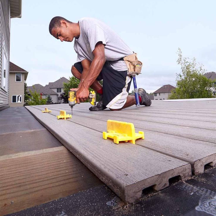 Deck Board Spacers - 16 Modern Deck Building Tips and Shortcuts: http://www.familyhandyman.com/decks/modern-deck-building-tips-and-shortcuts#1
