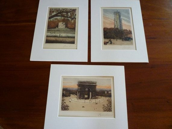 set of 3 coloured etchings French antique scenes of by VeriGoude