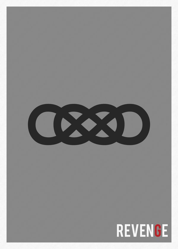 This is an art piece for the television show revenge. The symbol known as the double infinity represents revenge, a theme that is the driving force behind Hamlet's actions.
