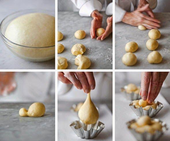 Ingrédients :   1 jaune oeuf   1 Pate à brioche ( recette ici )   Préparation :   1 Préparer la pâte a brioche et laisser la lever p...