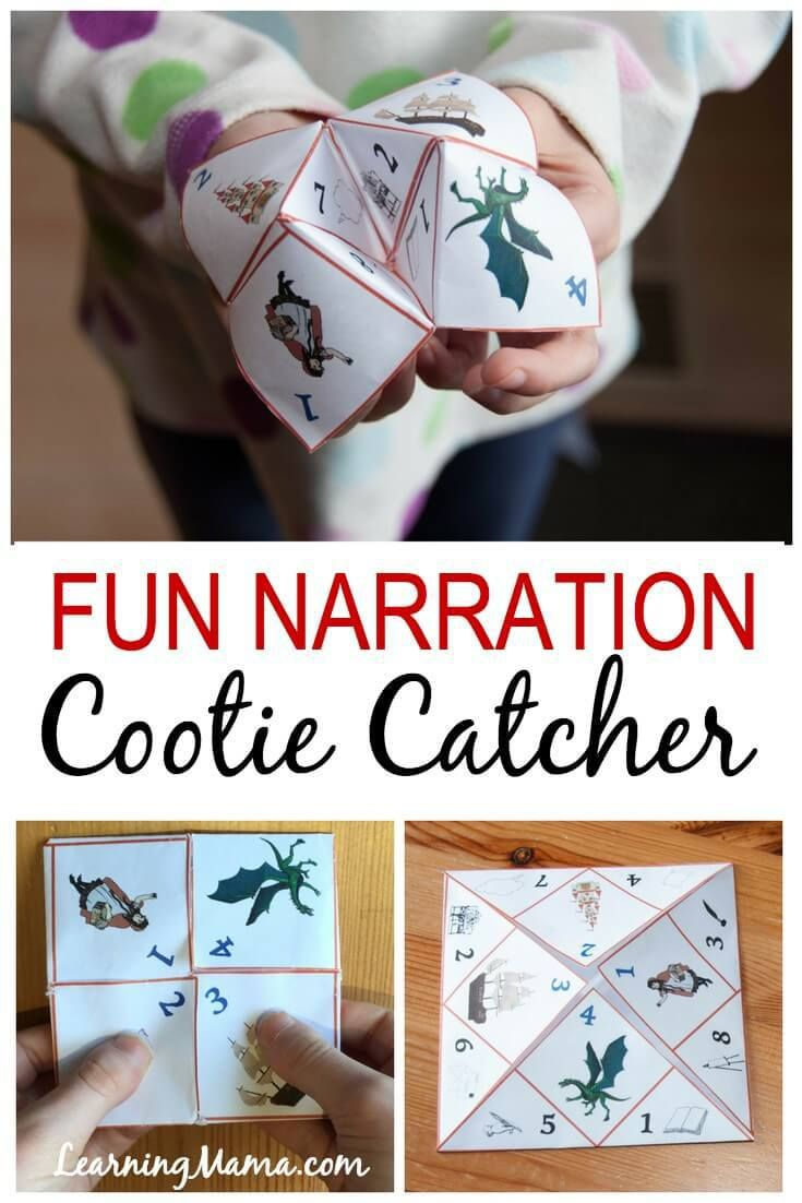 Make narration fun with the Narration Cootie Catcher! This cootie catcher (also known as a fortune teller or finger puzzle) is full of narration prompts to help your reluctant narrator! Homeschool fun! #homeschool #printable #charlottemason