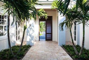 Tropical Front Door with French doors, sandstone tile floors, Pendant light, specialty door