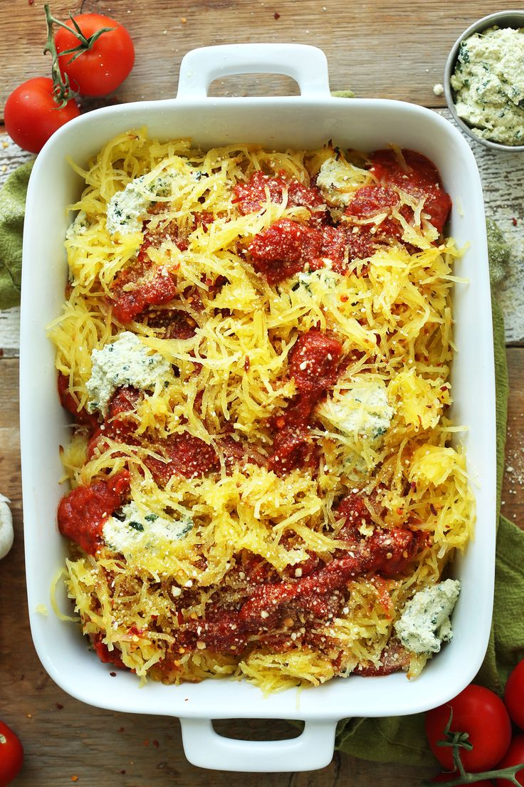 Flavorful 10-ingredient Spaghetti Squash Lasagna Bake with tofu ricotta and vegan parmesan cheese! A plant-based meal that's perfect for fall and winter!