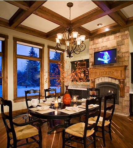 Cottage Dining Room With Fireplace