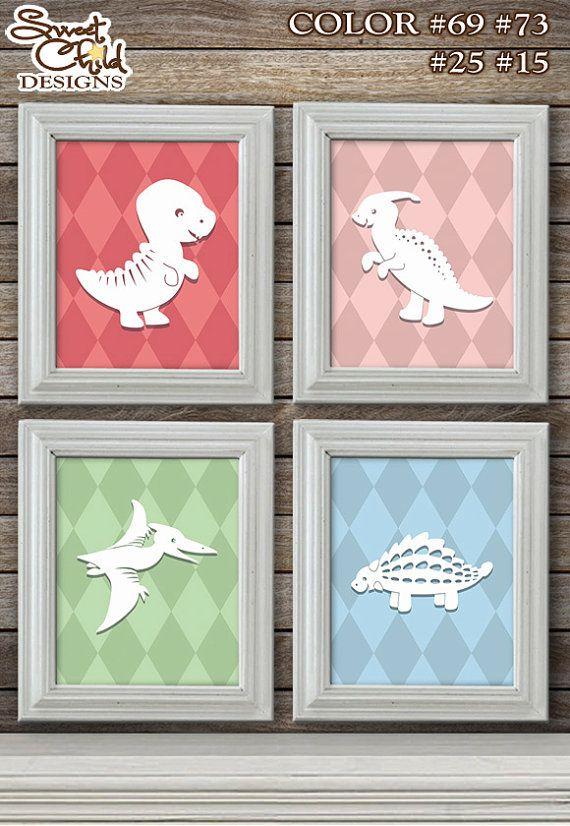 Customizable Dinosaur Art Baby Nursery Art Décor for Playroom, Baby Girls Room, Nursery Gift Artwork – Four (4) 8x10 Prints