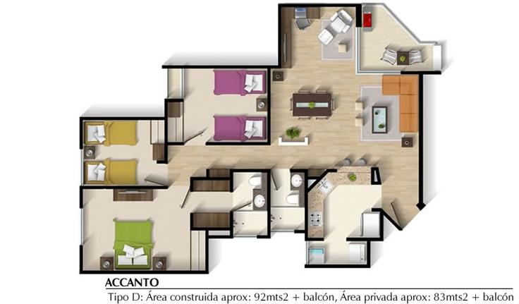 Accanto Club Residencial; - I N G E U R B E - Apto Tipo C - 85 m2