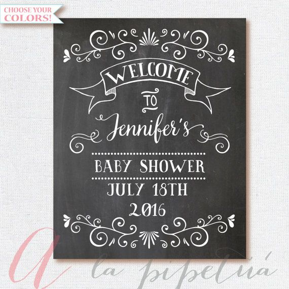 Welcome Baby Shower Sign. Chalkboard Welcome sign. Printable chalkboard poster…