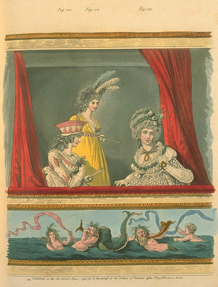 Ladies at the opera, perhaps translating it as Anne Elliot does in Persuasion, meeting Miss Bingley's requirement for 'modern languages' in an accomplished woman. Heideloff's gallery of fashion, 1796