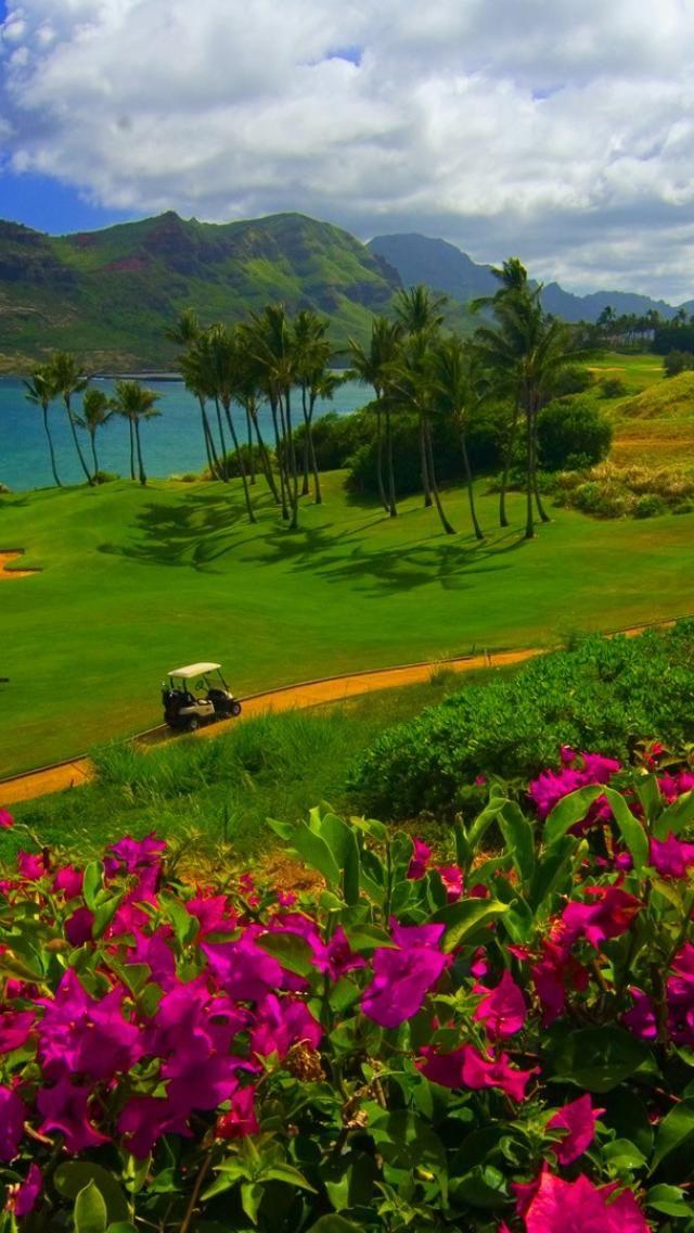 Golf Course Overlooking the Picturesque Hanamaulu Bay, Kauai, Hawaii. #golf #hawaii