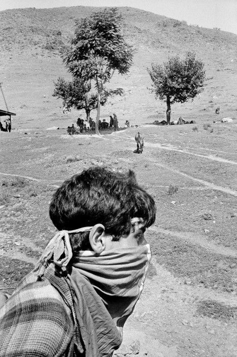 John Vink - India. Kashmir election. 1996. National Conference militant at a rally with Golam Russul Naz.