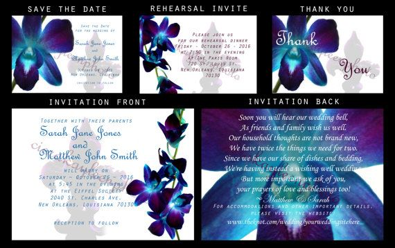 Blue Orchid Fleur de Lis Wedding Invitation DIY Printable