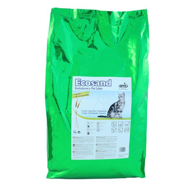 Ami Sand ECOSAND è la nuova lettiera per gatti e per piccoli animali a base completamente vegetale .