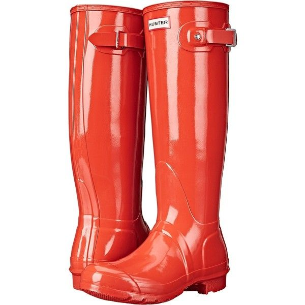 Hunter Original Gloss (Tent Red) Women's Rain Boots ($90) ❤ liked on Polyvore featuring shoes, boots, knee-high boots, orange, orange boots, wellies boots, knee boots, red rain boots and knee high buckle boots