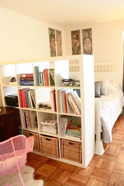 Kallax book shelf to section off bed, living and office area. - Caroline's Pint Size Retro Whimsy On A Budget