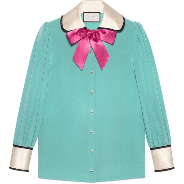 Gucci Contrast Silk Shirt With Bow ($1,300) ❤ liked on Polyvore featuring tops, blouses, shirts, turquoise, gucci blouse, blue top, bow shirt, silk bow blouse and round collar shirt