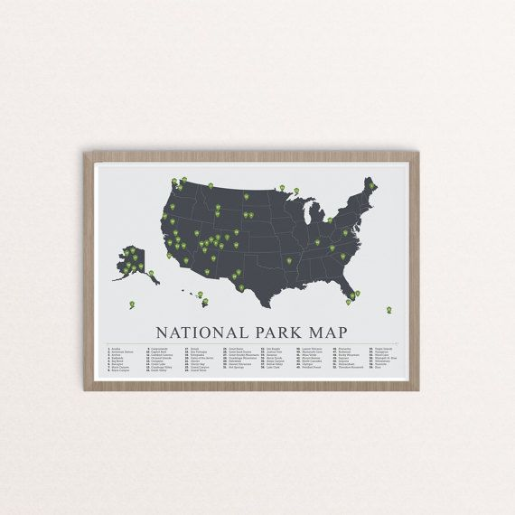 National Park Map American National Park Print Outdoors