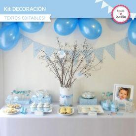 Pajarito bebé celeste: Kit decoración para imprimir