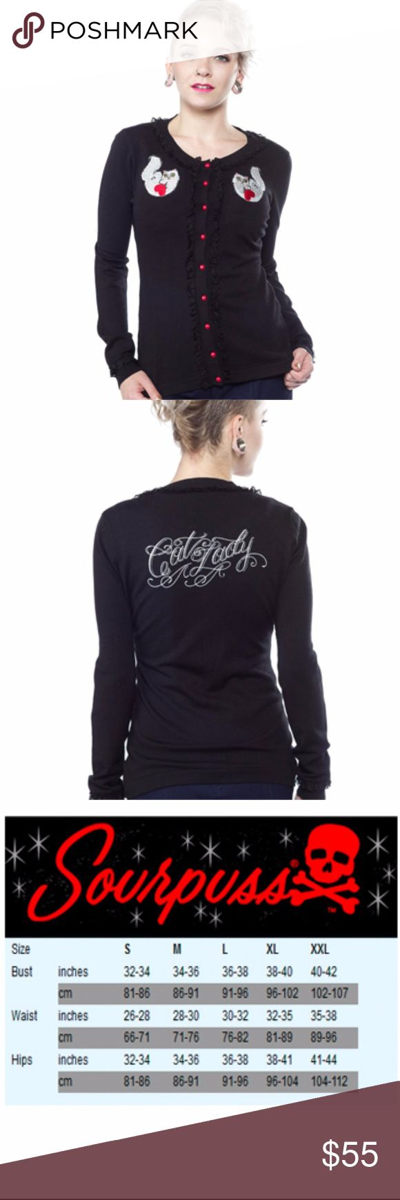 """Cat Lady Tattoo Cardigan Pinup Rockabilly This black Viscose cardigan features kitten emboideries on the front with """"Cat Lady"""" printed on the back Features original artwork from Stacey Martin-Smith This cardigan is also trimmed with soft black lace for a final touch. 100% Viscose Made By Sourpuss Sourpuss Sweaters Cardigans"""