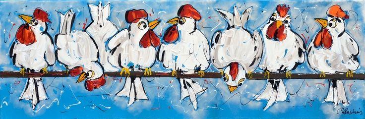 Dit is een: Acrylverf dik, titel: 'Schilderijen kippen vrolijk' kunstwerk vervaardigd door: Corrie Leushuis