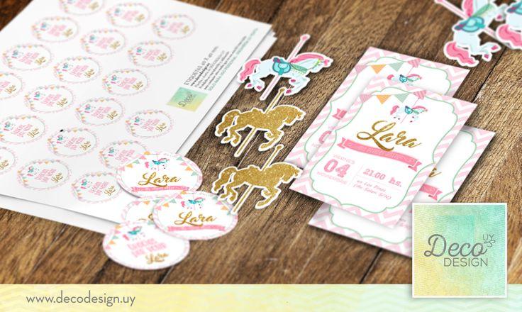 kit imprimible, etiquetas e invitacio carrousel