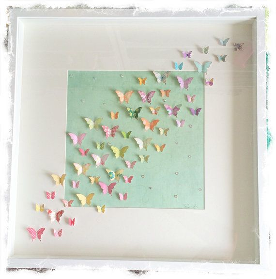 items similar to handcrafted papercut rainbow butterflies large shadow box frame on etsy