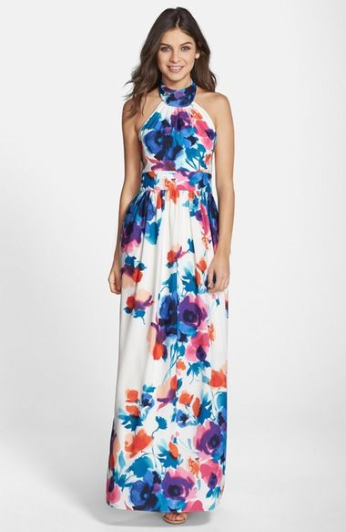 Eliza J Floral Print Halter Maxi Dress available at #Nordstrom